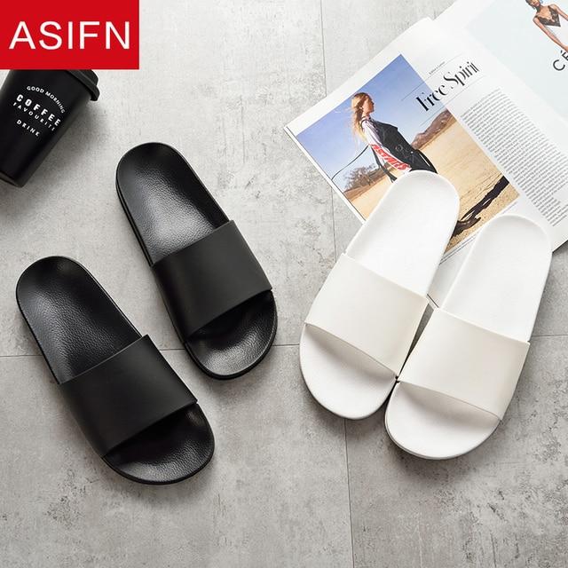 ASIFN Summer Home Men Slippers Simple Black White Non slip Bathroom Slides Flip Flops Indoor Women Platform Shoes Beach Slippers