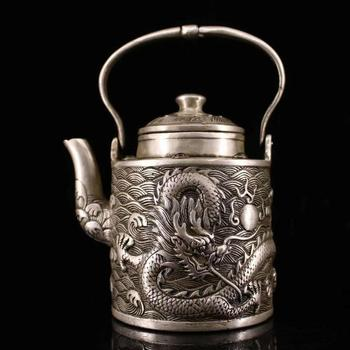 Collect the old pure copper and make the inlaid gem Panlong wine pot and teapot by hand / Decoration Collection Gifts