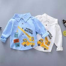 Весенне-осенние хлопковые блузки с длинными рукавами для маленьких мальчиков; Повседневная однотонная Удобная Новая блузка с отворотом и рисунком автомобиля