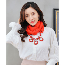 exaggerated resin pendants ring scarf ladies shawl neck necklace ethnic clothing accessories decoration pendant scarf цена