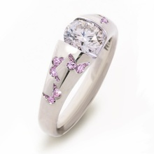 Romantic Crystal Ring Cocktail Colour Gem Zircon Engagement Ring Silver Color Cute Butterfly Ring Anniversary Jewelry for Women luxury women s crystal zircon ring red green gem ring round ring valentine s day gift cocktail party jewelry engagement ring