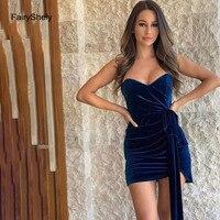 2019 New Autumn Navy Blue Velvet Strapless Bodycon Dress Women Sexy Sleeveless Backless Mini Club Celebrity Evening Party Dress