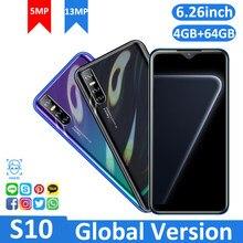 Telefones celulares telefones celulares s10 gloabl versão 4gb ram 64gb rom smartphone face id desbloqueado quad core android 5.1 cartão sim duplo 3g