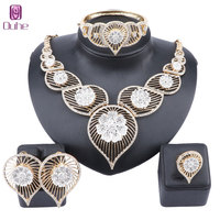African Fashion Jewelry Sets Charm Bridal Crystal Pendant Necklace Earring Wedding Women Dubai Gold Color Jewelry Set
