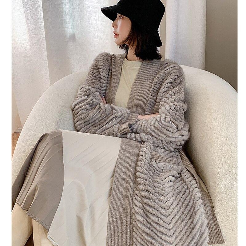 HDHOHR 2021 New High Quality Natural Mink Fur Coat Women With Belt Knitted Real MinkFur Jacket Innrech Market.com