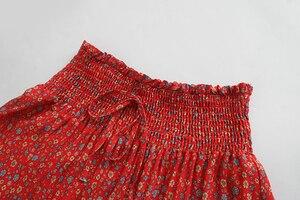 Image 3 - בציר שיק נשים אדום פרחוני הדפסת החוף בוהמי חצאית גבוהה אלסטי מותניים זהורית כותנה Boho מקסי חצאיות Femme