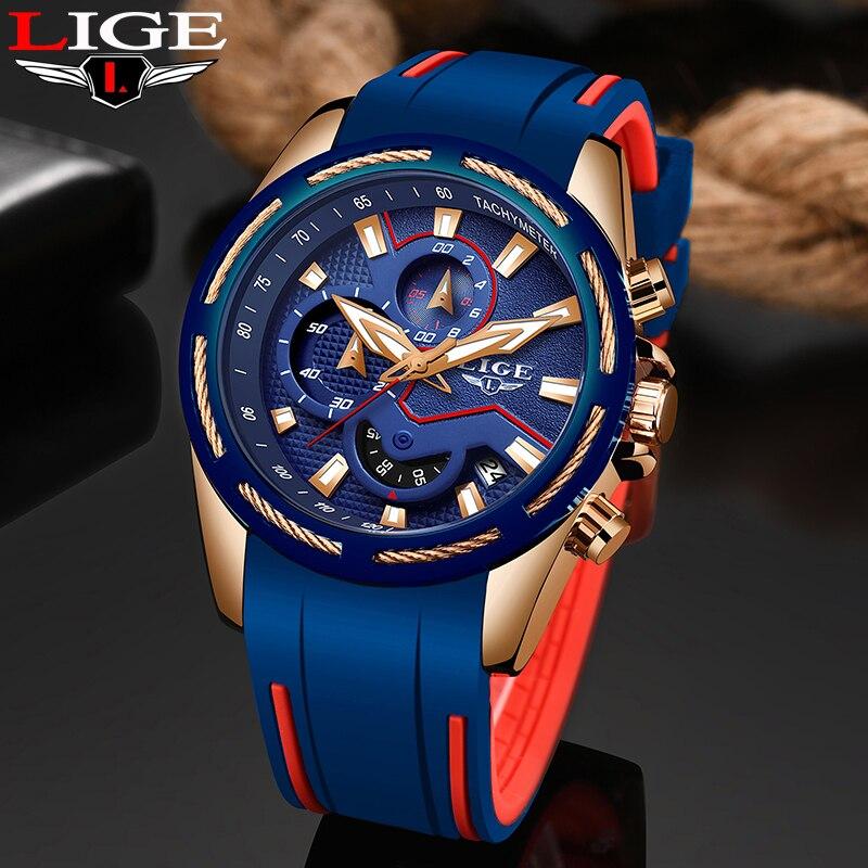 LIGE Moda Mens Relógios Top Marca de Luxo Multi-função dial Sports Watch Data Homens À Prova D' Água Relógio de Quartzo Relogio masculino