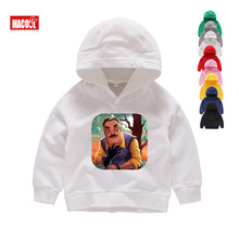 2019 Boys and Girls Game Hello Neighbor Pattern Hoodies Kids Casual Funny Clothes Hoodies Baby Cotton Long Sleeves Hoodies 2T-8T active animal pattern long sleeves christmas hoodies in white