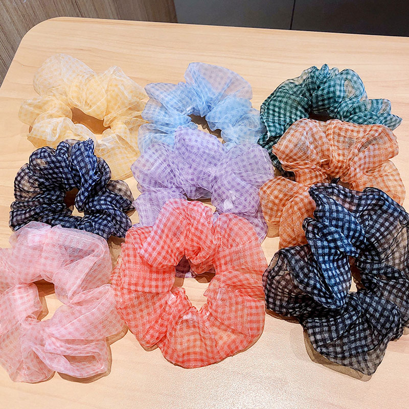 2020 Summer Colorful Plaid Chiffon Scrunchie For Women Girls Sweet Ponytail Holder Headband Rubber Band Fashion Hair Accessories