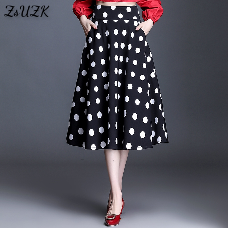 New Elegant Polka Dot Skirt Spring Summer Women Plus Size High Waist Mide Length Femme A Line Skirts With Pocket|Skirts| - AliExpress