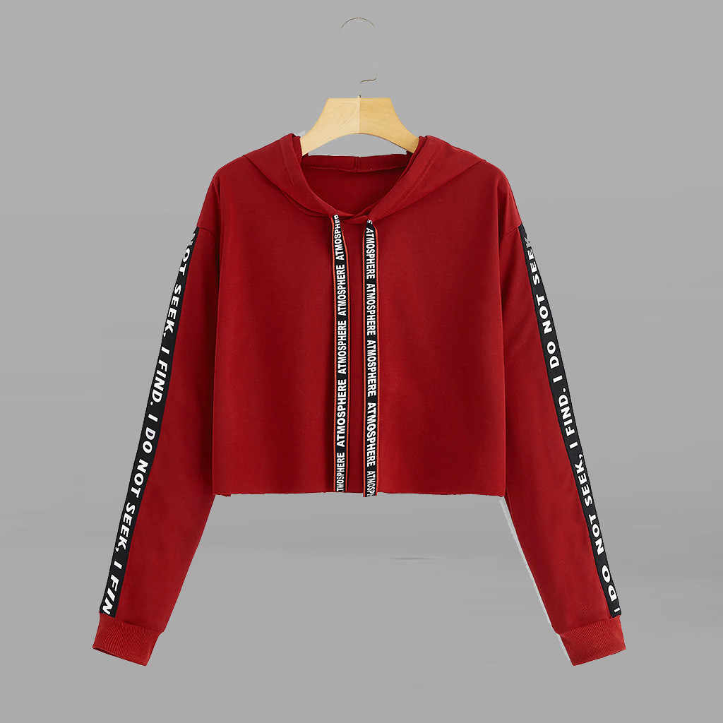 Fashion Wanita Sweatshirt Santai Lengan Panjang Hoodies Wanita Surat Mencetak Pullover Wanita Sweatshirt Top Polerones Mujer 2019
