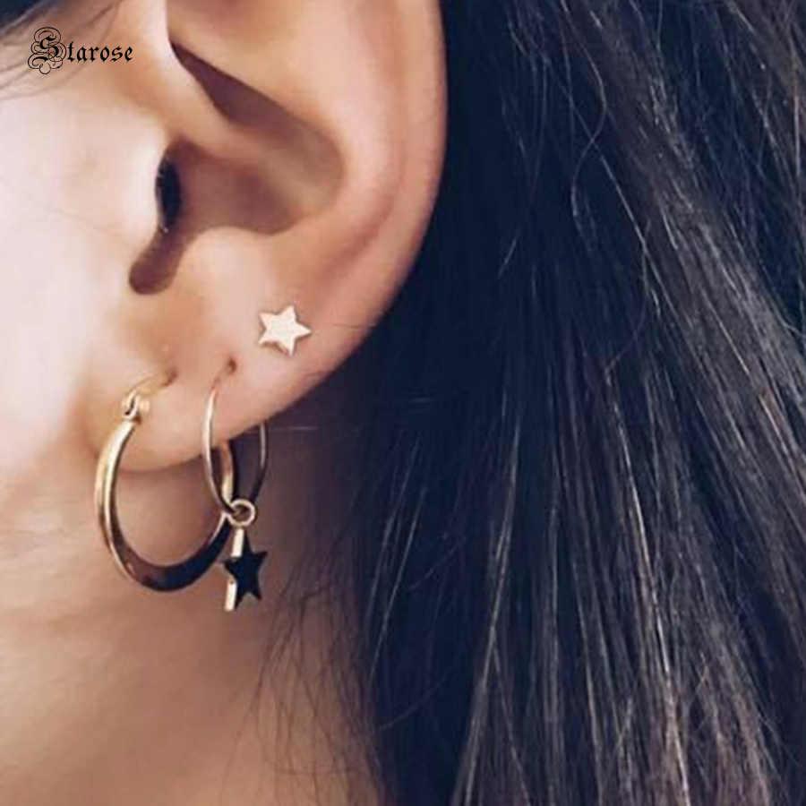 Stud Earring Gold Stud Piercing Ear Stud Piercing Stud Ear Piercing Minimalist Tragus Piercing 14K Solid Gold Triple Stone Piercing
