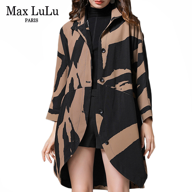 Max LuLu 2019 Korean Fashion Luxury Ladies Punk Autumn Streetwear Women Printed Oversized   Trench   Coats Vintage Loose Windbreaker