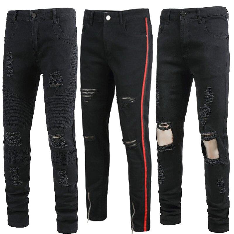 Elastic Force Broken Hole Men Jeans Runway Slim Racer Biker Jeans Fashion Hiphop Skinny Jeans For Men Denim Joggers Pants