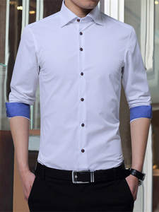 Shirts Man's-Clothing Formal-Dress Oversize Business Slim-Fit Long-Sleeved White Fashion
