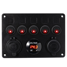 5 Gang Boat Switch Panel 12V Dual USB Socket 4.2A Circuit Breaker Toggle Switch Control LED Voltmeter For Car Boat Marine 5 gang on off car toggle switch panel 4 2a dual usb socket charger led voltmeter cigarette lighter boat marine truck switches