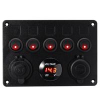 5 Gang Boat Switch Panel 12V Dual USB Socket 4.2A Circuit Breaker Toggle Switch Control LED Voltmeter For Car Boat Marine