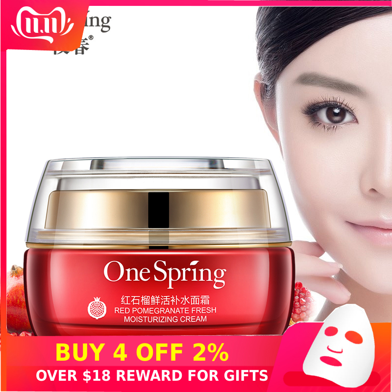 OneSpring Natural Red Pomegranate Essence Face Cream Skin Whitening Dark Spot Remover Moisturizing Oil Control Care