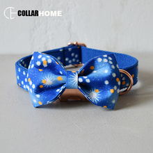 Bow dog collar leash for medium big dogs cool pet necklace with bow tie  bowknot running rope adjustable
