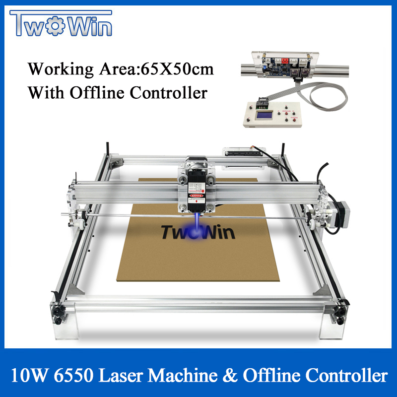 10W Big Laser CNC 6550 Machine Desktop DIY Laser Engraving Machine Picture CNC Printer Working Area 65cmx50cm Offline Controller