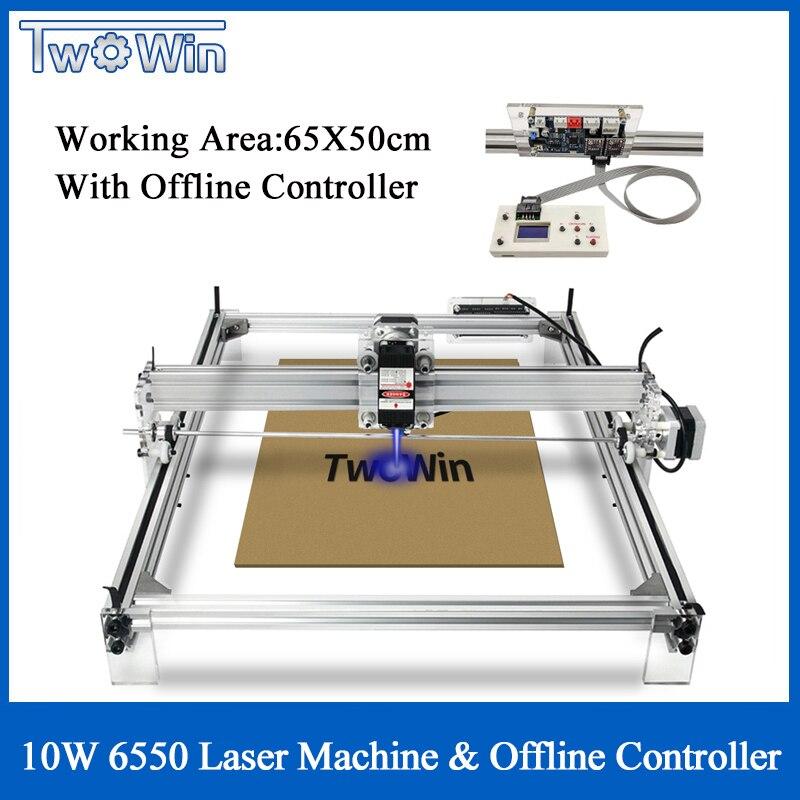 1W 3W 10W Big Laser CNC 6550 Machine Desktop DIY Laser Engraving Machine CNC Printer Working Area 65cmx50cm Offline Controller
