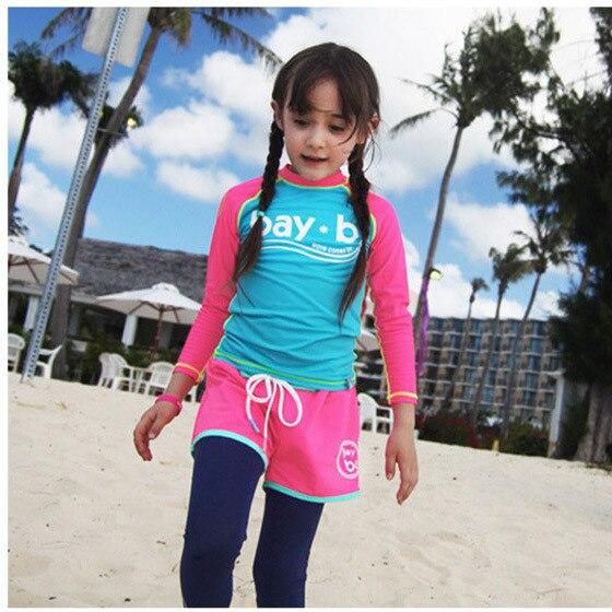 New Style Girls Swimwear Seaside Long Sleeve Sun-resistant Split Type Swimwear Girls Hot Springs Bath Bathing Suit