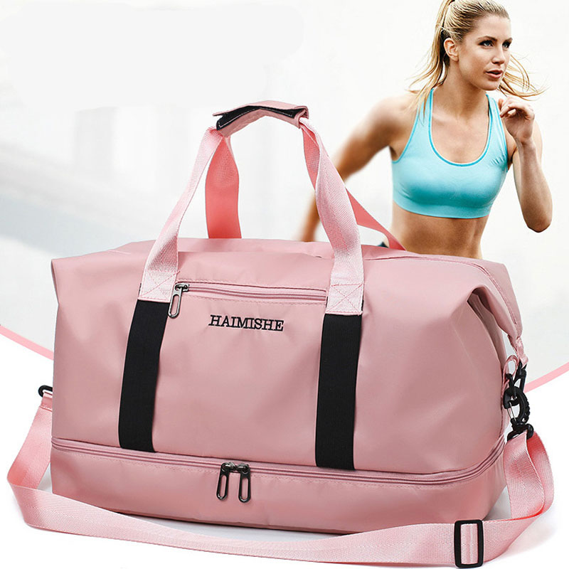 Women Travel Bag Handbags Large Capacity Waterproof Fitness Sports Weekend Bag Oxford Double Pink Unisex Duffel