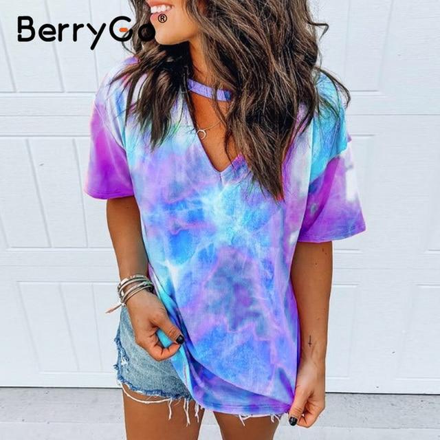 BerryGo Print tie dye V-neck short sleeve shirt women's top Loose wear household women clothing Summer ladies casual shirt 2020