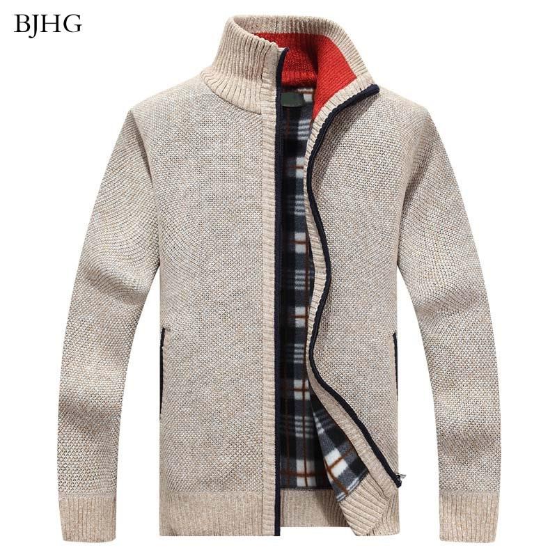 BJHG 2019 New Men's Sweaters Autumn Winter Warm Cashmere Wool Zipper Cardigan Sweaters Casual Knitwear Sweatercoat Male Clothe