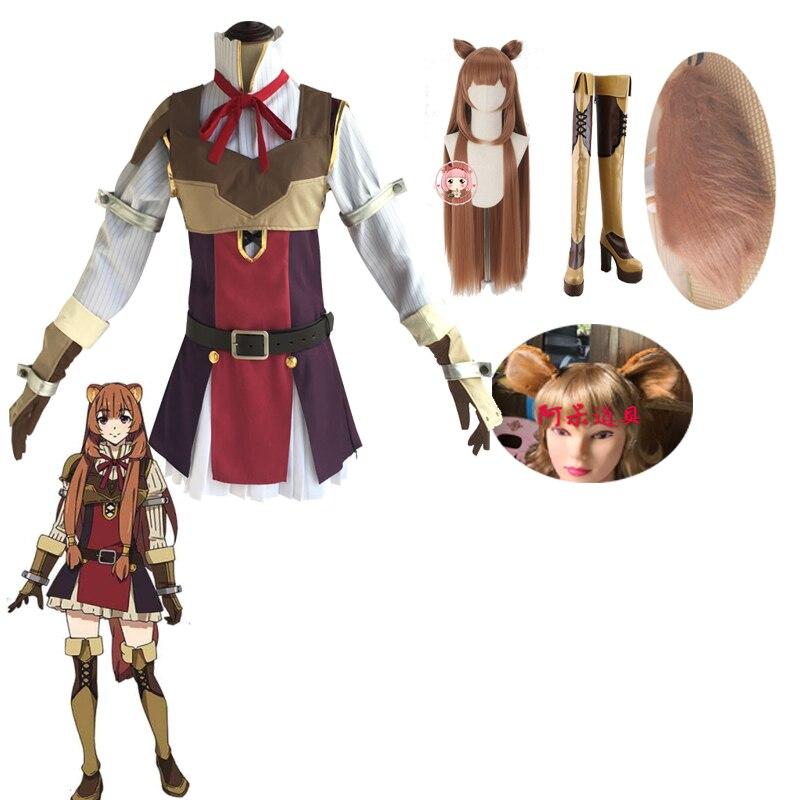 The Rising Of The Shield Hero Tate No Yuusha No Nariagari Cosplay Costumes Raphtalia Cosplay Costume Boots Wig  Full Tails Sets
