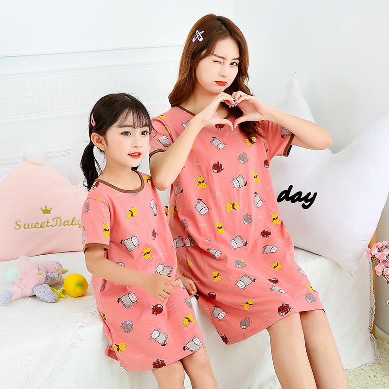 Summer Girls Nightgown children clothing 100% cotton short sleeved pajamas dress Cute kids Homewear Nightdress Clothes 2-14years 1