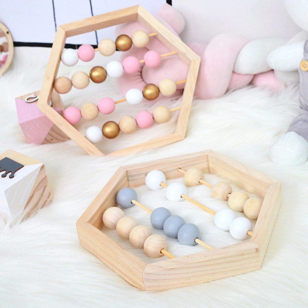 Nordic Style Natural Wooden Abacus With Beads Craft Baby Early Learning Educational Toys For Baby Room Decor 2019 New Arrivals