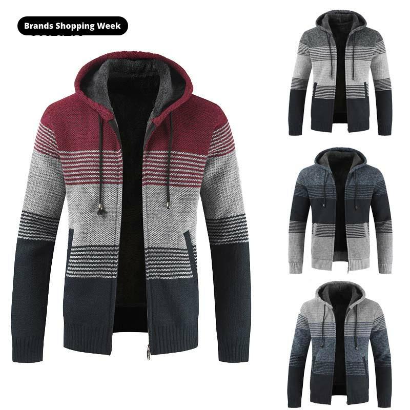 FALIZA Men's Sweater Coat 2020 Autumn Winter Thick Warm Hooded Stripe Wool Sweater Cardigan Jumpers Zipper Fleece Coat Men XY103