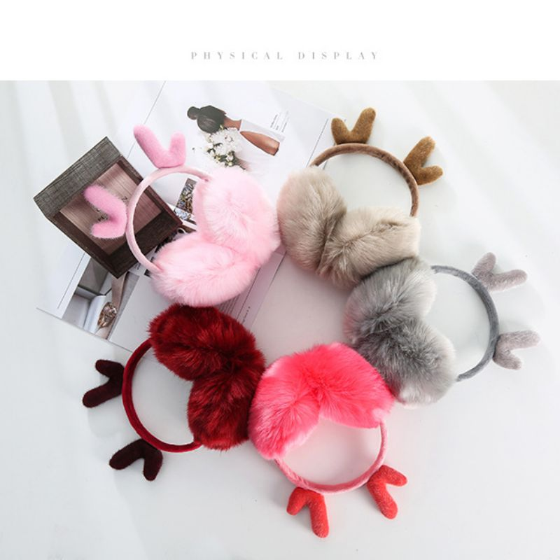 Hot Sale Cute Earmuffs Christmas Plush Outdoor EarmuffsWarmer Windproof Antler Adjustable Earmuffs Wholesale