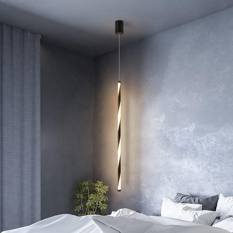 Modern LED Pendant Lights Minimalist Restaurant /coffee Bar/living Room/bedside Pendant Lamp Background Wall Long Line Hang Lamp