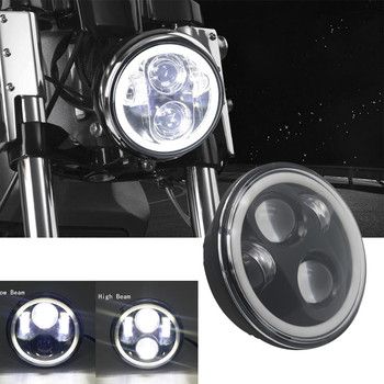 """Black 5.75"""" LED Headlight High/Low Beam 5 3/4"""" Front Driving Head Light Headlamp DRL & Amber Turn Signal For Harley Projector"""