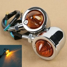 цена на Motorcycle 2x / 4x Black/Chrome Turn Signal Indicator Light For Harley Chopper Bobber Custom Cruiser