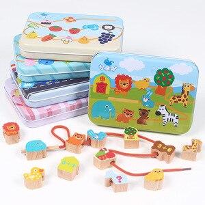 Детская игра с бисером для раннего обучения, познавательная деревянная игрушка, мультяшный автомобиль, карточки, подходящая игра, развиваю...