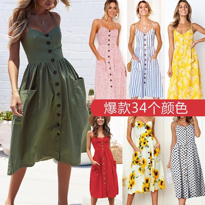 Oufiusn Sexy V Neck Spaghetti Strap Women Summer Dress Boho Print Backless Dresses Fahsion Maxi Pocket Dress Vestidos  Plus Size