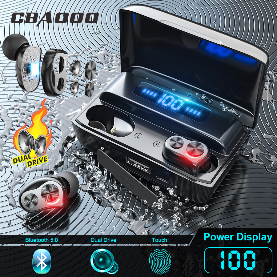CBAOOO DT-05S Dual Drive Bluetooth Earphone V5 0 Bass Headphone Wireless Headset Noise Reduction Touch Control Earbuds 2500mah