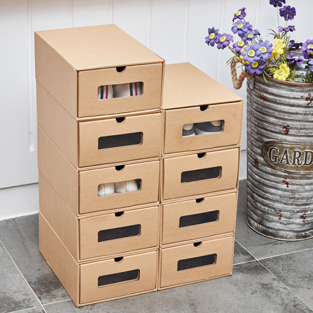 Thick Shoe Organizer Box made of Cardboard with Drawers 2