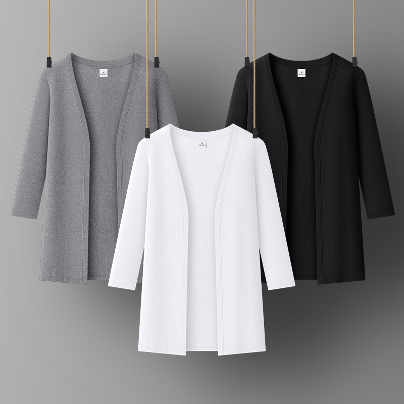 Women cotton cuasual coat Lady office jacket O-NECK Three Quarter Sleeve all match women tops