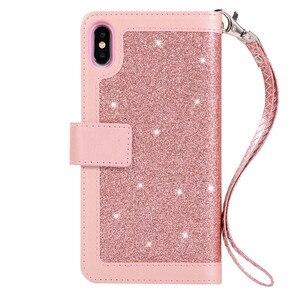 Image 2 - ための高級革財布iphone 12ミニ11プロマックスフリップブリンブリンケースiphone x xs最大xr 6 6s 7 8プラスジッパーカードスロットカバー