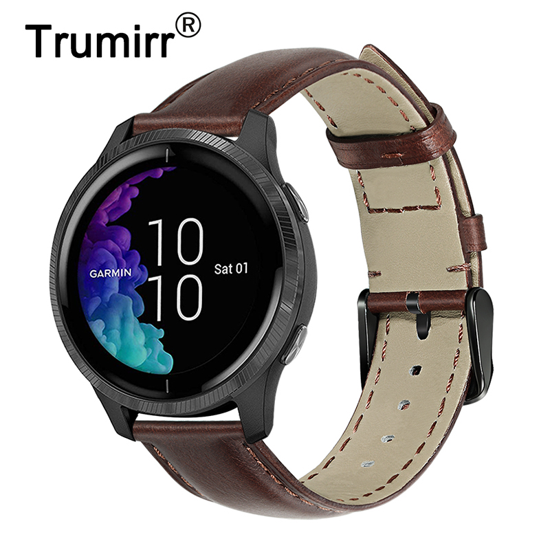 Genuine Cowhide Leather Watchband For Garmin Venu / Vivoactive 4 4S / Vivomove HR 3 3S Luxe Style Quick Release Watch Band Strap