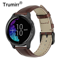 Genuine Cowhide Leather Watchband for Garmin Venu / Vivoactive 4 4S / Vivomove HR 3 3S Luxe Style Quick Release Watch Band Strap|Watchbands| |  -