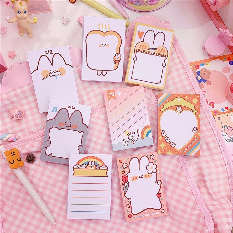 50pcs/pack Mini Kawaii Rabbit  Memopads Notas  Non-sticky For Student And Office Staff 6*9cm