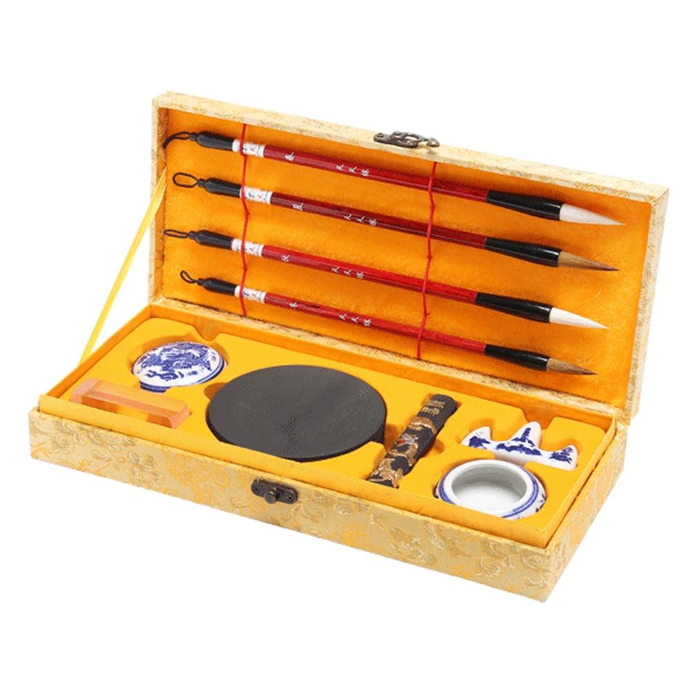 Chinese Calligraphy Writing Brushes Ink Stick Stone Holder Stamp Washer Set Gift