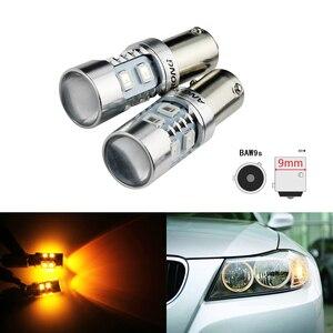 ANGRONG 2x ámbar HY21W BAW9s, luz LED para coche 10SMD 2835, indicador de aparcamiento, bombilla LED para Citroen C4 Grand Picasso