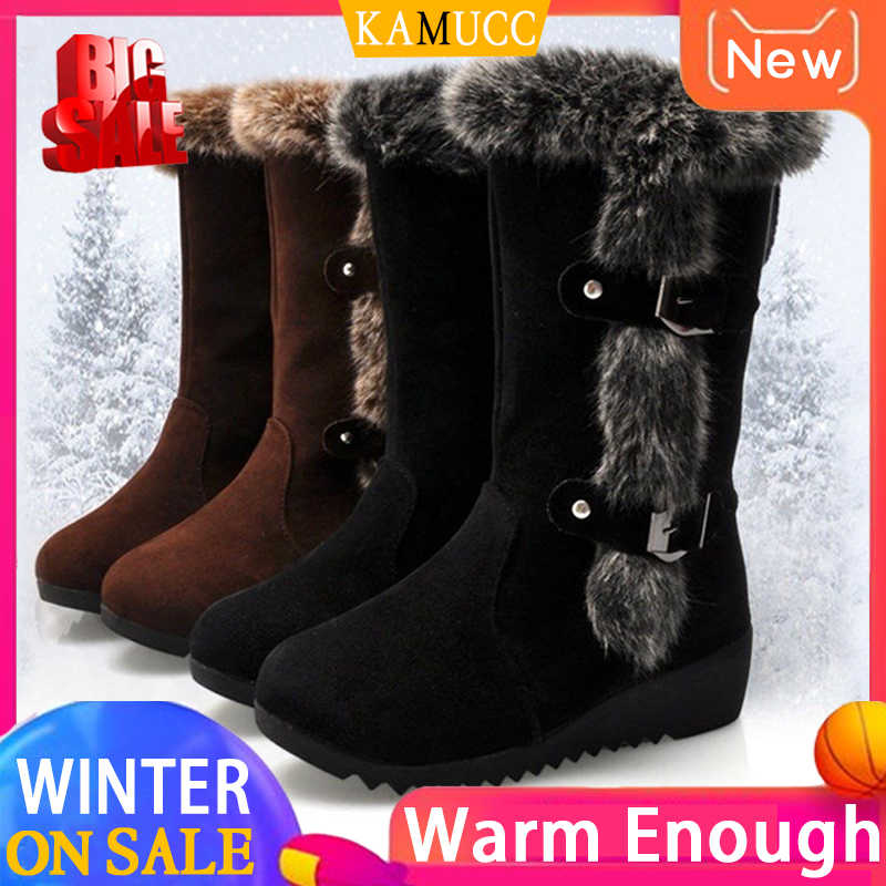 Women Winter Boots Flock Winter Shoes Ladies Fashion Snow Boots Shoes Thigh High Suede Mid-Calf Boots