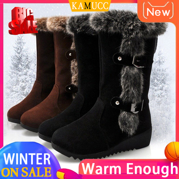 Kobiety zimowe buty stado zimowe buty damskie moda śnieg buty buty udo wysokie zamszowe połowy łydki buty tanie i dobre opinie KAMUCC Pasuje prawda na wymiar weź swój normalny rozmiar Okrągły nosek Zima Slip-on Stałe Mieszkanie z Buty śniegu